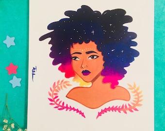 Starry Sunset Afro-Girl