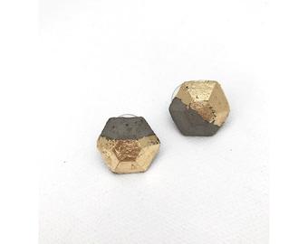 Gold foiled concrete hexagonal earrings