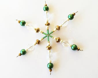 Beaded Snowflake Christmas Decoration (Green and Gold)