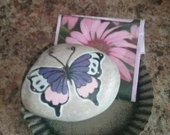 Beautiful Hand Painted butterfly painted rock stone