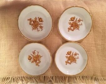 Set of 4 Porcelain Limoges Saucers