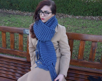 Light Navy Blue Hand Knitted Scarf