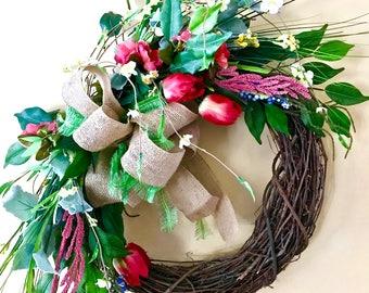 Spring Grapevine Wreath, Summer Grapevine Wreath, Tulip Wreath, Burlap Ribbon Wreath, Mothers Day Wreath, Front Door Wreath, Light Wreath