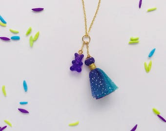 Gummy Bear Tulle Tassel Charm Necklace in Grape