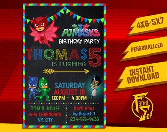 PJ Mask Invitation,PJ Mask Birthday Invitation,Pj Mask Party,Pj Mask Invite,Pj Mask Birthday,Pj Mask Printable,Pj Mask Card,Pj Mask FF