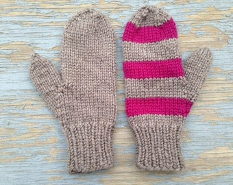 Mittens - Hand Knit  - Mismatched - Wool - Customized - Monogrammed - Personalized Gift - Natural Fibre - Handmade - Winter Wear - Gift