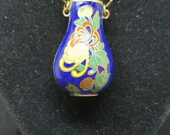 Cloisonne Vintage Vase Pendant Flower Necklace