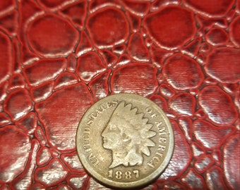1 One Cent Penny Copper Coin USA Indian Head 1887.combined shipping