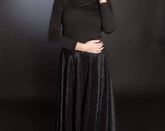 Black Shiny Skirt handmade