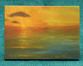 "Pacific Sunset - 5"" x 7"" Print on Canvas"