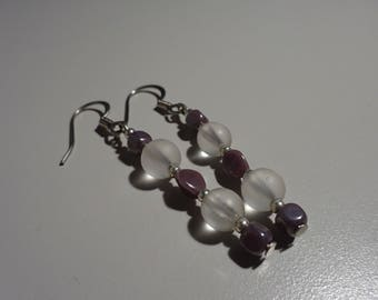 Translucent and Opaque Purple Earrings