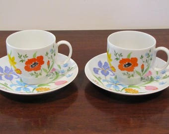 Primavera.  Heinrich H & G SELB.  Bavaria, Germany.  2cups/2 saucers.