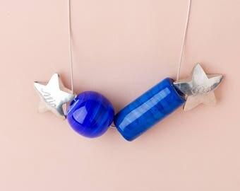 Blue Murano Ball Tube necklace