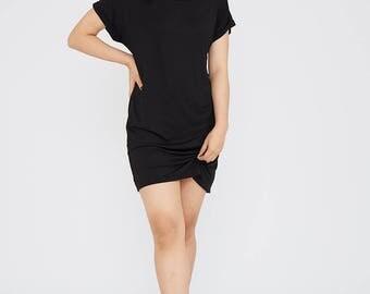 Off Shoulder Turn Up Sleeve Baggy Dress