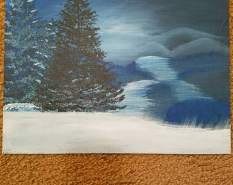 Winter landscape acrylic painting on canvas