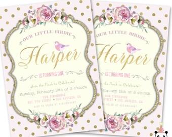 Bird Birthday Invitation, Little Birdie Invite, Bird Theme Birthday Invitation Card, Bird Theme Party, Little Bird Birthday Theme Invites
