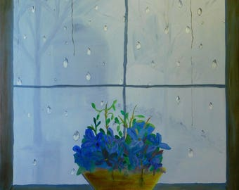 Blue Flowers on Window Sill