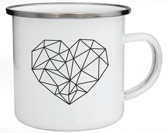 Enamel Mug, Metal Mug, Valentine's Day Gift, Gift for Couples, Graphic Heart,