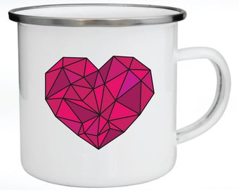 Enamel Mug, Metal Mug, Valentine's Day Gift, Gift for Couples, Color Graphic Heart