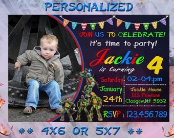 TMNT Teenage Mutant Ninja Turtles Invitation - Printable Birthday Party Invite - Custom Personalized You-Print Digital Photo Car