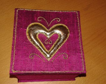 Heart goldwork box