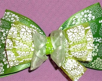 Boutique Bow, Stacked Boutique, Fancy Bow, Green Barrette, Easter Bow,  girls barrette, layered over the top, Beautiful Green Satin