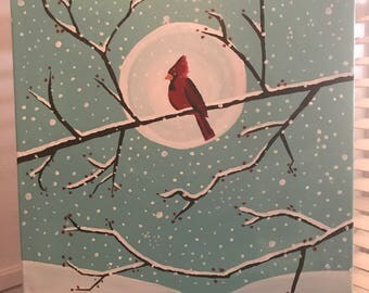 "16""x20"" Cardinal in the Snow"