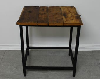 Recycled wood with steel side table / recycled wood Coffee Table / industrial Table / reclaimed wood and steel Table