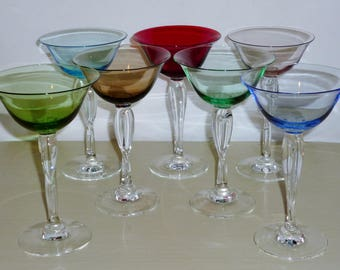 7 Mikasa FRENCH TWIST Cocktail Martini Goblets Vintage glasses Elegant Glass Hollywood Regency MCM Ruby Green Blue Pink Smoke Amethyst