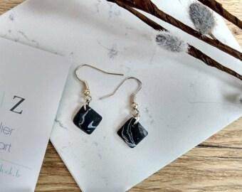 Ear hook marble effect black for women/earrings marble/marble jewelry / jewellery/jewelry women/earrings marbled