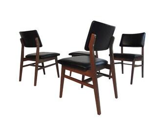 Jens Risom Series 7611 Walnut Dining Chairs 1961