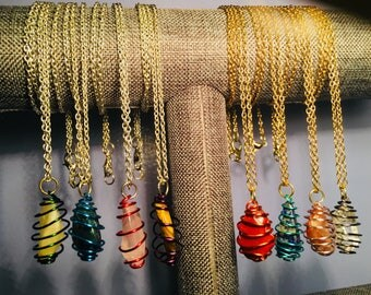 Spiral Wrapped Semi-precious Stone/Crystal Chain Necklace