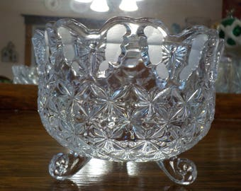 Vintage Crystal Footed Bowl/Candy Dish - Butterfly pattern