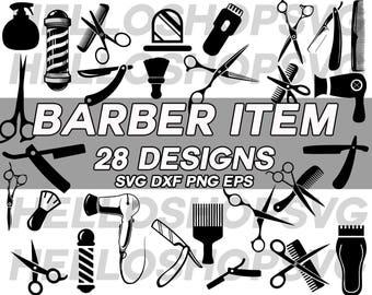 barber svg, barber item, salon svg, saloon svg, scissors svg, barber shop, grooming, hair dryer, comb, shaver, clipart, stencil, silhouette