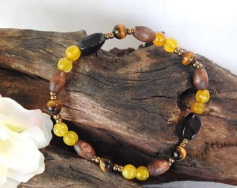 Natural Golden Tigers Eye, Black Agate, Yellow Agate healing gemstone stretch bracelet