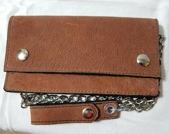 Light Brown Buffalo Hide Leather Biker Chain Wallet