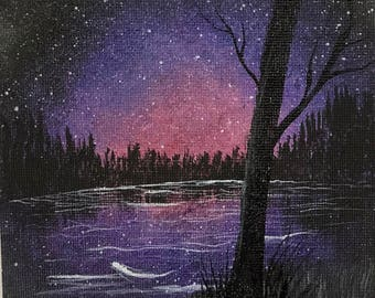 Night time shooting star lake scene hand painted magnet 5x7""