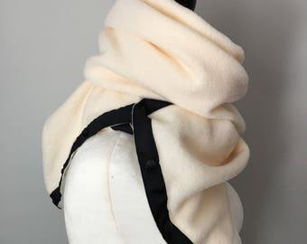 Cream Fleece Snap Scarf