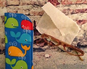 Baby Whale Eyeglass Case/ Unisex Eyeglass Case / Children Eyeglass Case