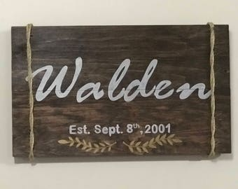 Personalized Last Name Wooden Sign