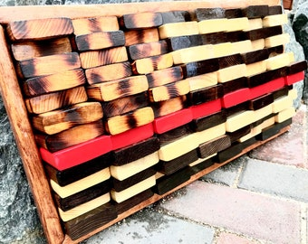 """American Flag, America, 4th of July, Firefighter, Thin Red Line, Old Glory, Distressed, Reclaimed, Wood art, Wall art, """"Defining the Red"""""""