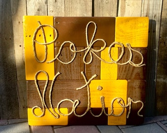 """Reclaimed Pallet Wood, Wood Art, Wall Art, Wyoming Cowboys, Man Cave, Guy Gift, Pallet, Pallet Wood, Football, Home Decor, """"Pokes Nation"""""""