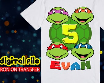 Iron On TMNT Birthday Shirt, Ninja Turtle Iron On Transfer, Ninja Turtle Birthday Boy Iron On Transfer, Personalize
