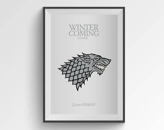 Game of Thrones Print, Stark House, Stark Direwolf, Winter is Coming, Sansa Stark, Arya Stark, Jon Snow, Printable Art, Digital Print Art