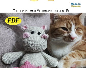 Melman and his friend Pi,PDF,pattern,Amigurumi,gifts,handmade,file,thread,knitted toy,toy crochet,how to do it