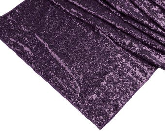 WIDE Plum Sequin Table Runner Dinner Fancy Wedding Table Settings Boho Dark Purple Cloth Sparkly Wholesale Eggplant Napkins Sale Glitter