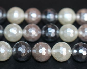 15 inches , 128 Faceted Multi color south sea shell pearls beads 12mm  ,loose shell beads,semi-precious shell pearls beads