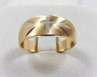 Solid 14K Yellow Gold 8mm Cross Crucifix Band Ring, Size 10, 5.0 grams