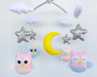 Girl Baby Crib Mobile. Nursery Felt Mobile. Girl Theme. Baby Mobile. Crib Mobile. Nursery Mobile, Baby Mobiles Hanging. felt Mobile
