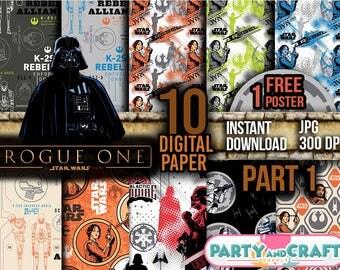 STAR WARS Part 1 Digital Paper. Instant Download - Scrapbooking - Star Wars Printable Paper Craft The Last Jedi BB8 Rey Chewbacca